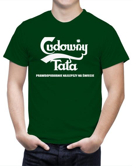 Koszulka Cudowny Tata. Kolor koszulki ciemno zielony.