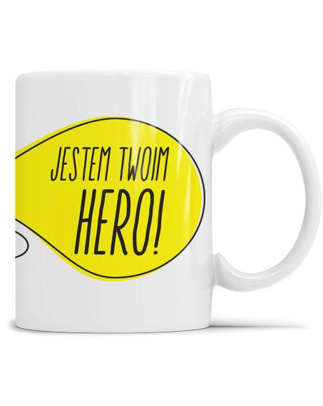 Biały kubek dla dziewczyny jestem Twoim Hero i grafiką.