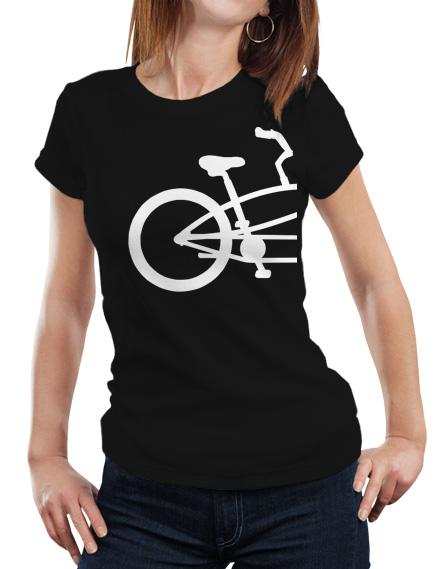 Damska koszulka dla zakochanych Par tandem. Kolor koszulki czarny, grafika tandemu w kolorze białym.
