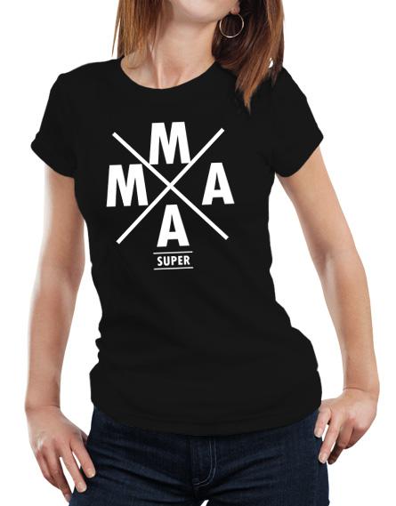 Damska koszulka dla mamy. Kolor koszulki czarny, napis Super Mama w kolorze białym.