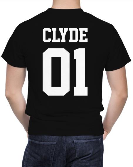 Czarna męska koszulka dla zakochanych par z dużym nadrukiem z tyłu Clyde 01.