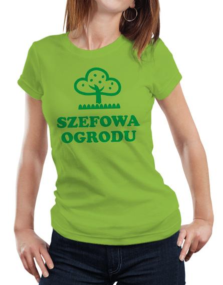 Damski zielony t-shirt z napisem Szefowa Ogrodu.