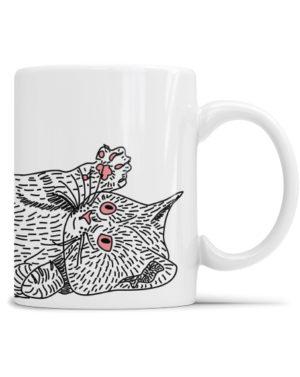 Biały kubek z napisem kocham Cię mój kotku i autorską grafiką idealny na walentynki.
