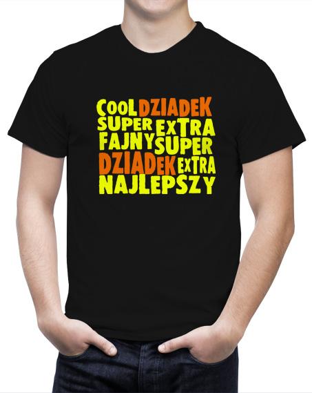 Czarny męski t-shirt Cool Extra Fajny Dziadek. Żółto-pomarańczowy nadruk znajduje się z przodu koszulki