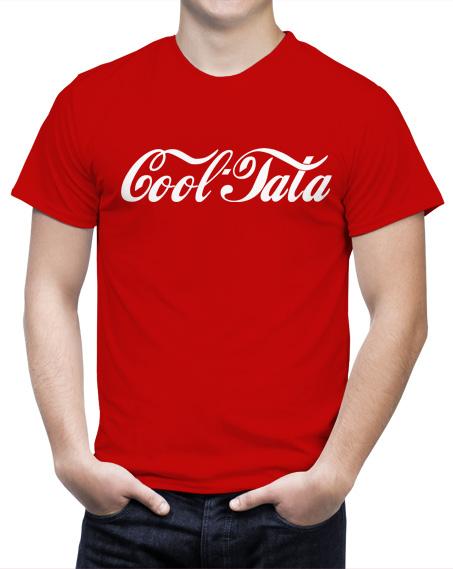 Koszulka cool tata. Kolor koszulki czerwony, napis biały.