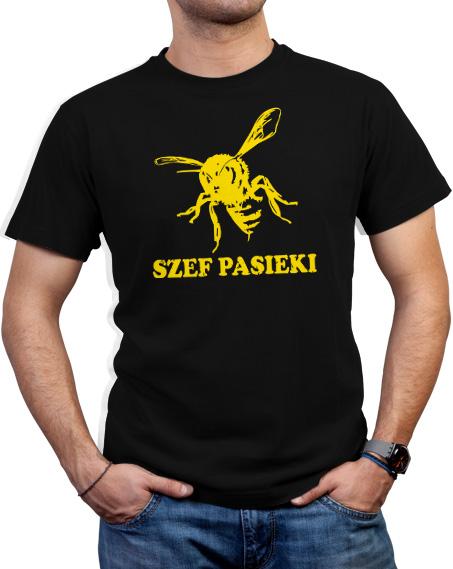 Koszulka dla pszczelarza na prezent. Kolor koszulki czarny, napis szef pasieki i grafika pszczoły w kolorze żółtym.