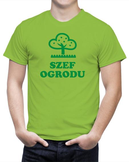 Koszulka szef ogrodu. Kolor koszulki jasno zielony, napis w kolorze ciemnozielonym.