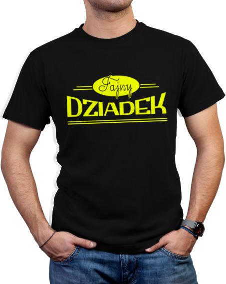 Czarna koszulka z jaskrawożółtym napisem Fajny dziadek.