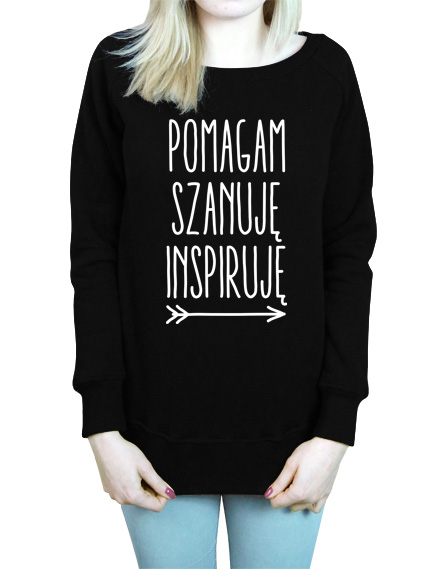 Damska czarna bluza z napisem Pomagam Szanuję Inspiruję
