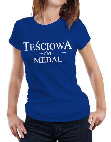 Damska niebieska koszulka z napisem Teściowa na medal.