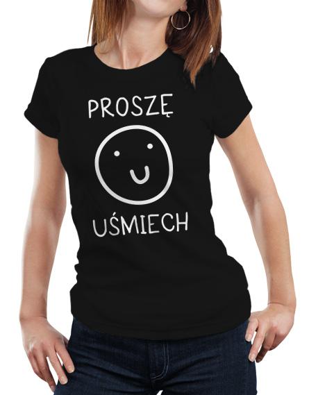 Damska koszulka z napisem Proszę o Uśmiech