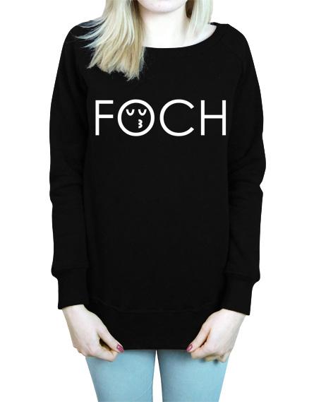 Czarna damska bluza z napisem foch. Z przodu bluzy znajduje się nadruk w kolorze białym.znajduje się