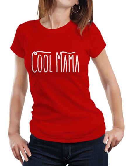 Koszulka z napisem Cool Mama. Czerwona damska koszulka Cool Mama. Idealna dla mamy na prezent. Dzień Mamy
