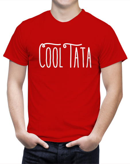 Koszulka Cool Tata. Czerwony t-shirt dla taty. Koszulka z napisem na dzień ojca.