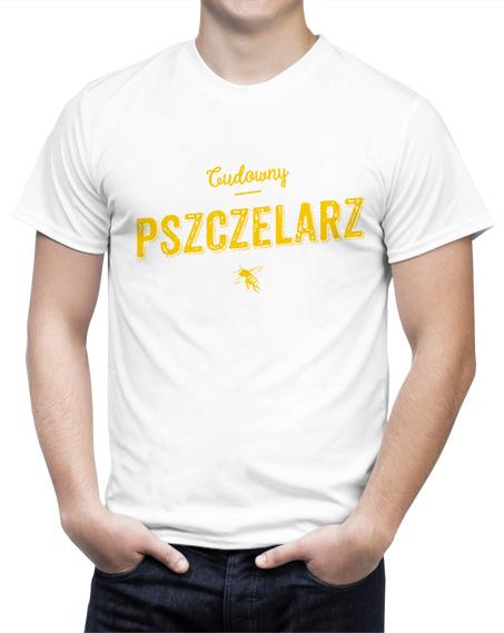 T-shirty z nadrukiem, biała koszulka z napisem cudowny pszczelarz