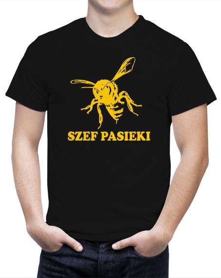 T-shirt dla pszczelarzy, koszulka szef pasieki, koszulka z nadrukiem w kolorze żółtym, pszczoła