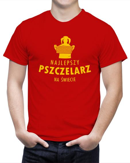 koszulki dla pszczelarzy, czerwony t-shirt z nadrukiem najlepszy pszczelarz na świecie, podkoszulki dla pszczelarzy