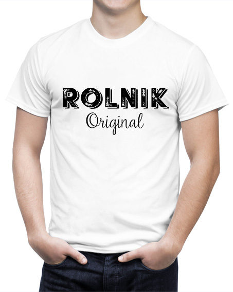 Koszulka dla rolników z nadrukiem Rolnik Original. Biały męski t-shirt dla rolnika z czarnym napisem idealny na prezent
