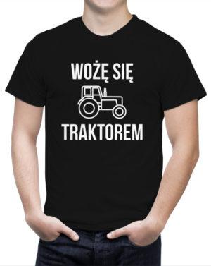 Śmieszna koszulka dla rolnika Wożę się traktorem