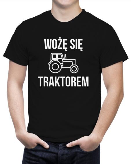 Śmieszna koszulka dla rolnika Wożę się traktorem. Kolor czarny