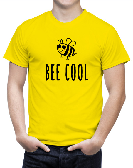 Śmieszny prezent z motywem pszczoły Koszulka Bee Cool. T-shirt żółty