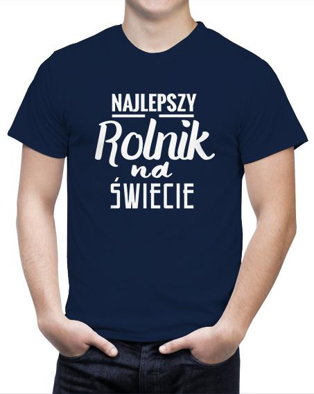Prezent dla rolnika na urodziny Koszulka Najlepszy Rolnik Na Świecie. Kolor koszulki granatowy.